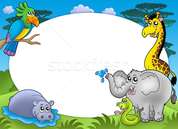 Round frame with African animals Stock photo © clairev
