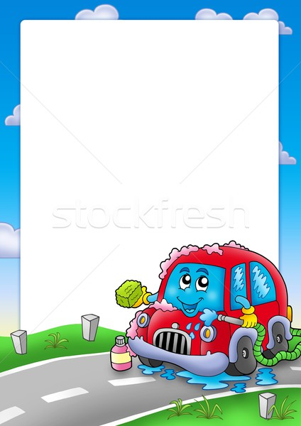 Quadro desenho animado lava-jato cor ilustração carro Foto stock © clairev