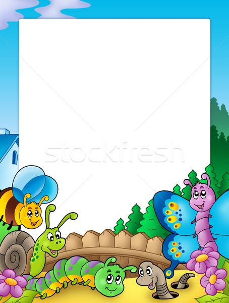 Frame with various garden animals Stock photo © clairev