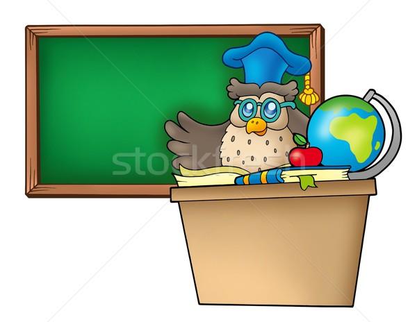 Owl teacher behind desk Stock photo © clairev