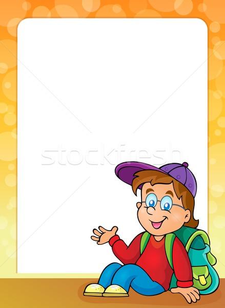 Keret iskolás fiú mosoly iskola gyermek művészet Stock fotó © clairev