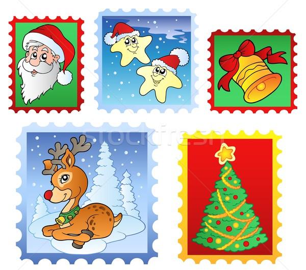 Foto stock: Natal · postar · selos · árvore · arte