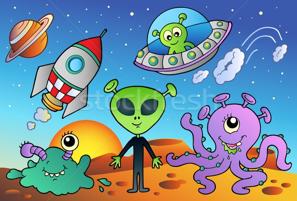 Various alien and space cartoons Stock photo © clairev