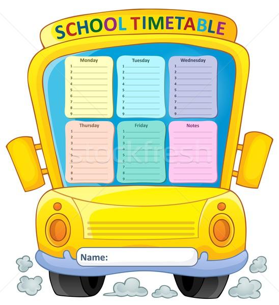 Hebdomadaire école calendrier art table apprentissage Photo stock © clairev