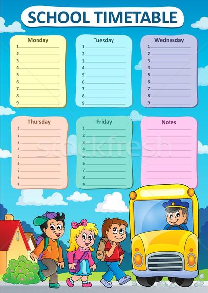 Hebdomadaire école calendrier fille enfants homme Photo stock © clairev