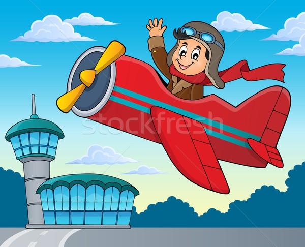 Pilot in retro airplane theme image 2 Stock photo © clairev