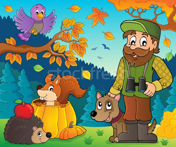 Forester and autumn animals theme 1 Stock photo © clairev