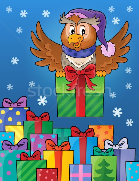 Owl with gift theme image 8 Stock photo © clairev