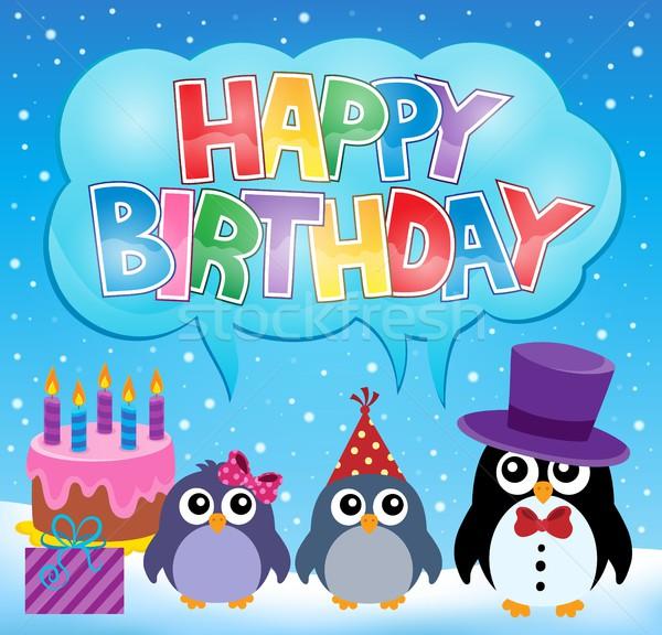 Fête pingouin image anniversaire gâteau signe Photo stock © clairev