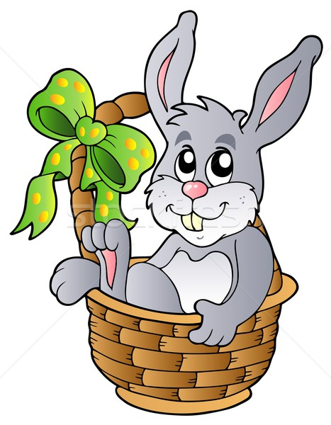 Easter bunny in basket Stock photo © clairev