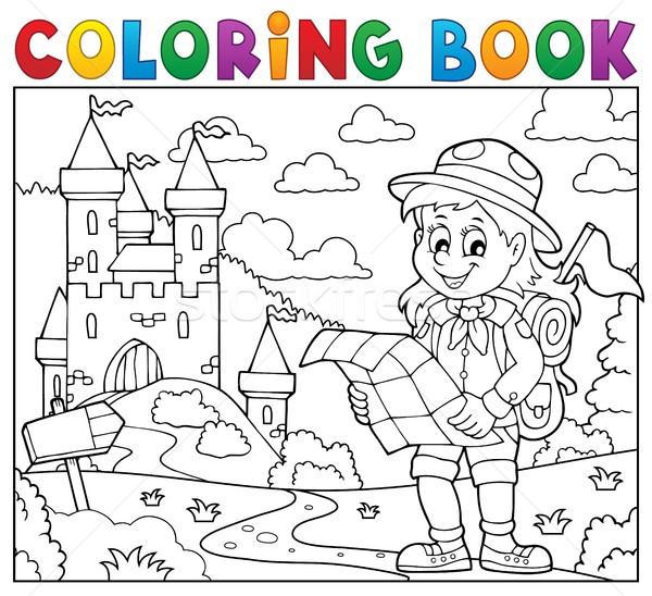 Boyama Kitabı Izci Kız Gülümseme Kitap Harita Vektör
