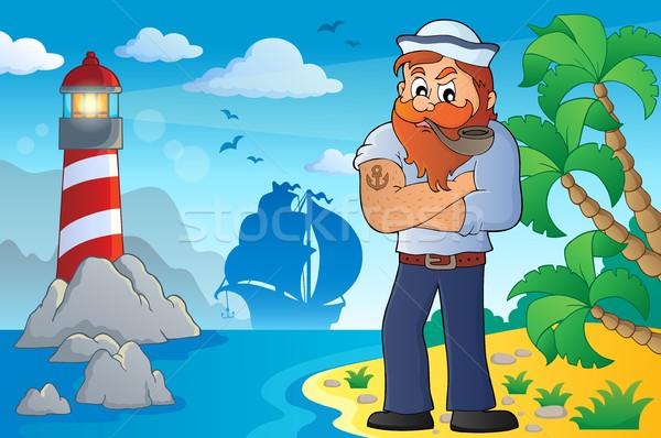 Marynarz temat obraz plaży sztuki dłoni Zdjęcia stock © clairev