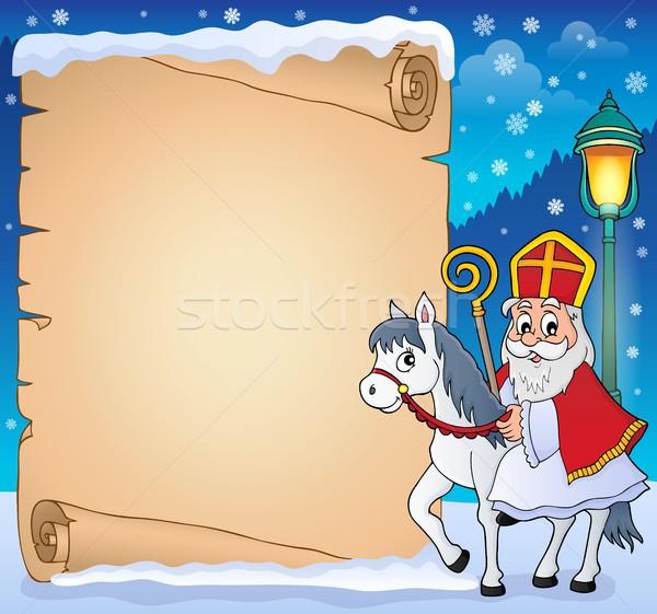 Perkament papier man kunst winter kleding Stockfoto © clairev