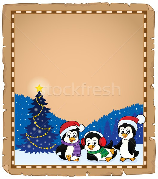 Karácsony pergamen papír fa boldog művészet Stock fotó © clairev