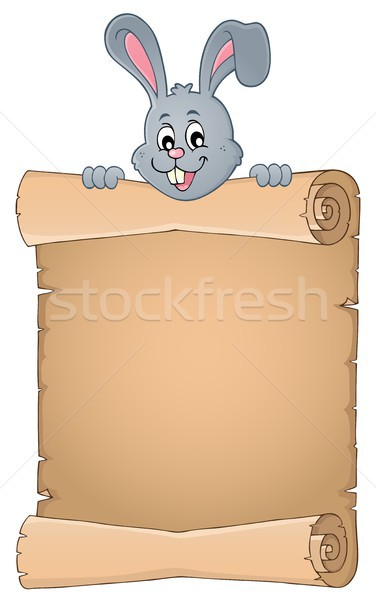 Lurking Easter bunny with parchment 2 Stock photo © clairev