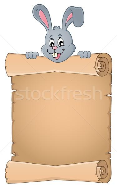 Húsvéti nyuszi pergamen papír nyúl fej rajz Stock fotó © clairev