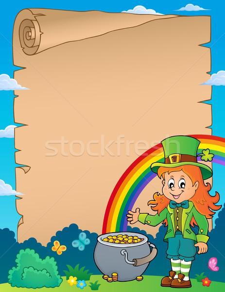 Leprechaun girl theme parchment 1 Stock photo © clairev