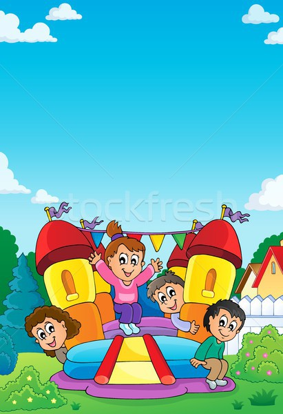Kids on inflatable castle theme 1 Stock photo © clairev