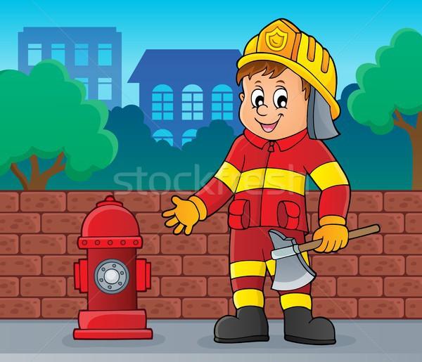 Brandweerman man afbeelding muur werk straat Stockfoto © clairev