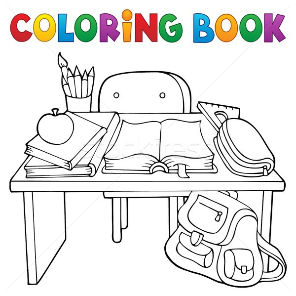 Coloring book school desk theme 1 Stock photo © clairev