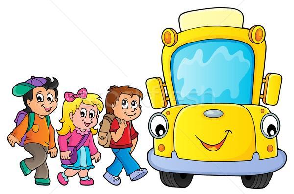 çocuklar okul otobüsü görüntü göz yüz mutlu Stok fotoğraf © clairev