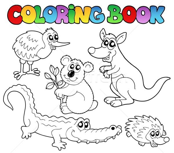 Kifestőkönyv ausztrál állatok mosoly könyv terv Stock fotó © clairev
