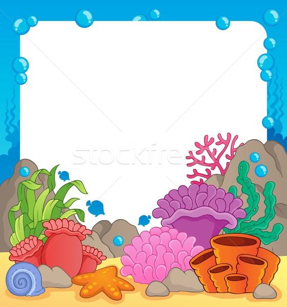 Korallzátony keret természet tenger terv levelek Stock fotó © clairev