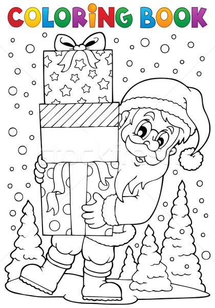 Boyama Kitabı Noel Baba Konu Kitap Boya Kar Vektör