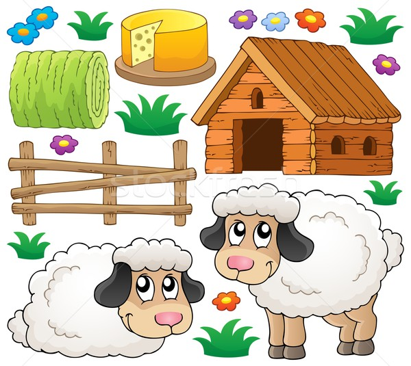 Ovejas colección madera arte verano granja Foto stock © clairev