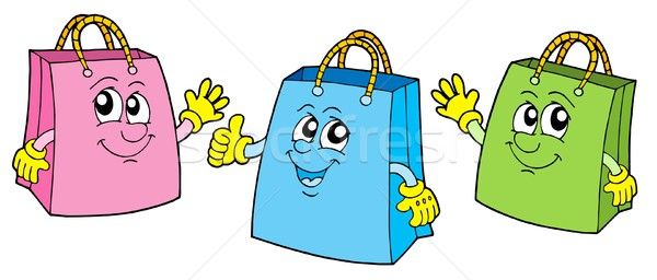 Smiling shopping bags vector illustration. Stock photo © clairev