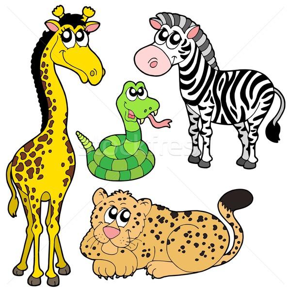 Zoo zwierzęta kolekcja zwierząt życia kolor tropikalnych Zdjęcia stock © clairev