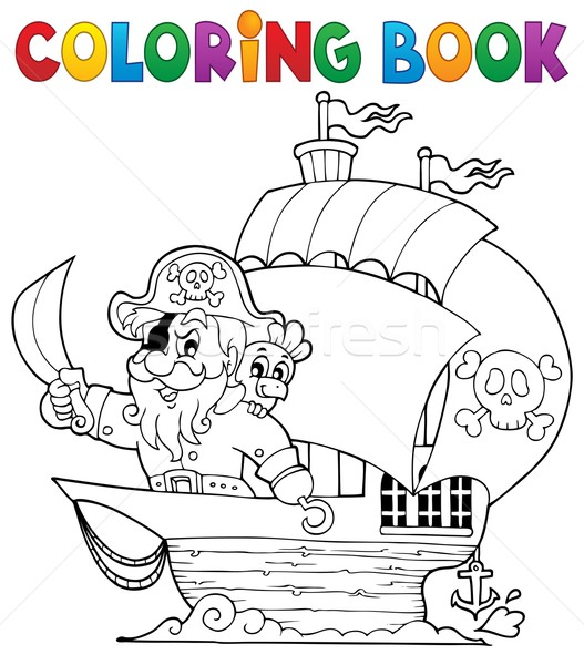 Coloring book ship with pirate 1 vector illustration © Klara