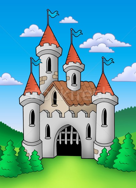 Alten mittelalterlichen Burg Landschaft Farbe Illustration Stock foto © clairev