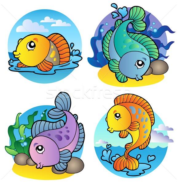 различный пресноводный дизайна животные плаванию Сток-фото © clairev