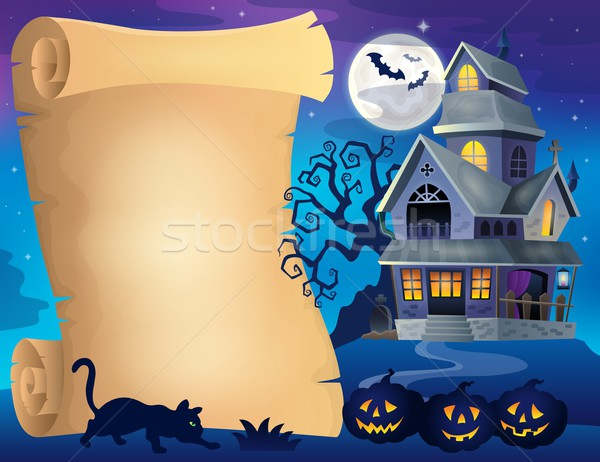 Pergamen kisértetjárta ház fa hold ősz Stock fotó © clairev