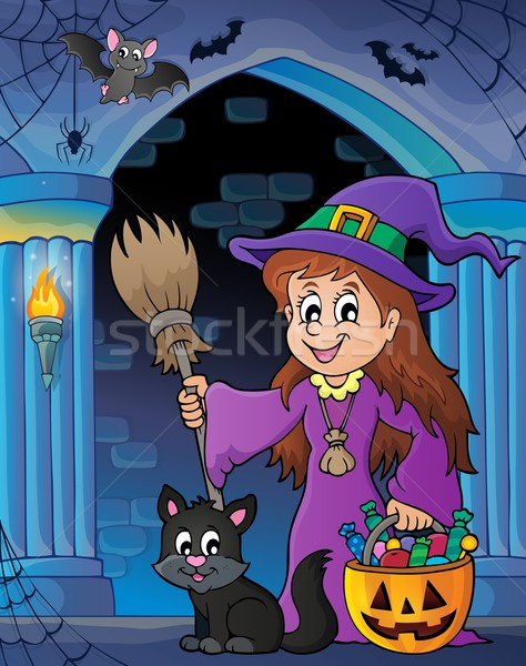 Wall alcove with cute witch and cat Stock photo © clairev