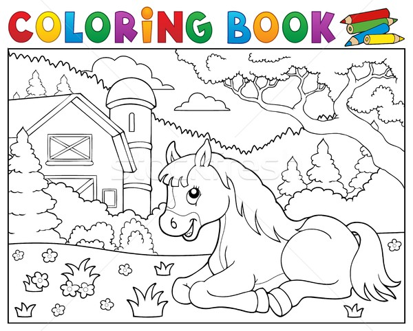 Coloring book horse near farm theme 2 Stock photo © clairev