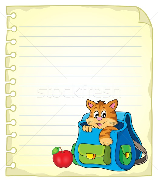 Notebook page with cat in schoolbag Stock photo © clairev