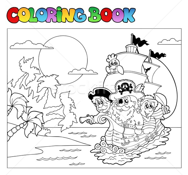 Stock photo: Coloring book with pirate scene 3