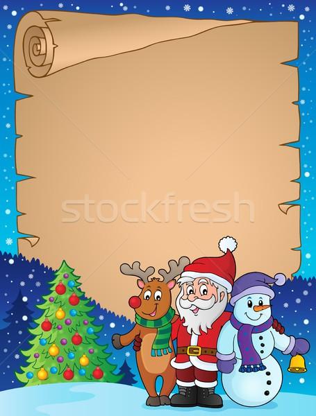クリスマス 羊皮紙 ツリー 雪 芸術 ストックフォト © clairev