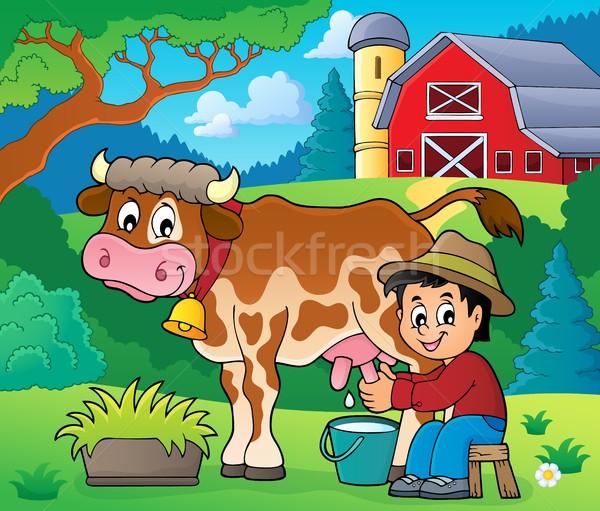 Farmer milking cow image 2 Stock photo © clairev