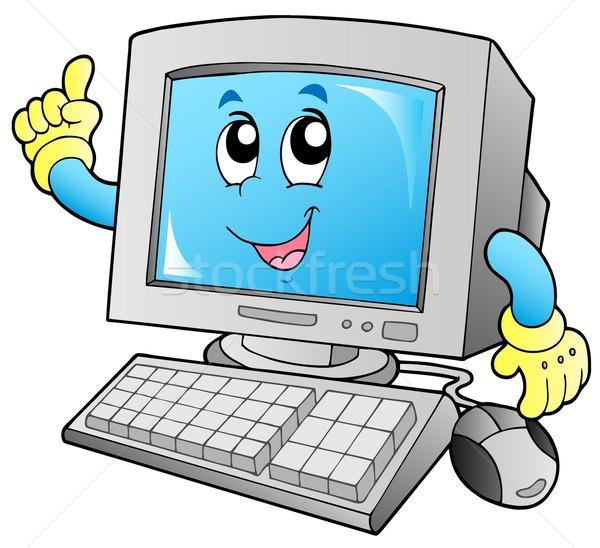 Karikatur lächelnd Büro Gesicht Internet Stock foto © clairev