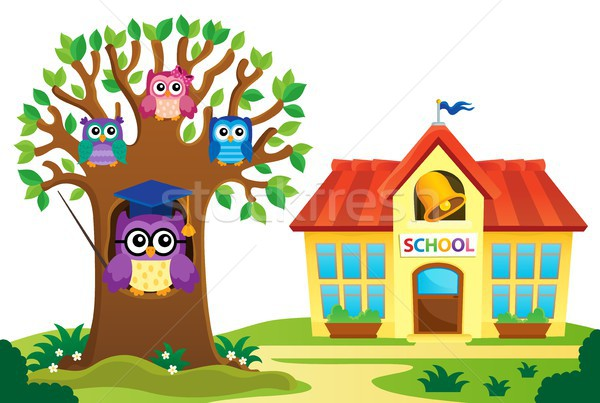 Tree and owls near school theme 1 Stock photo © clairev