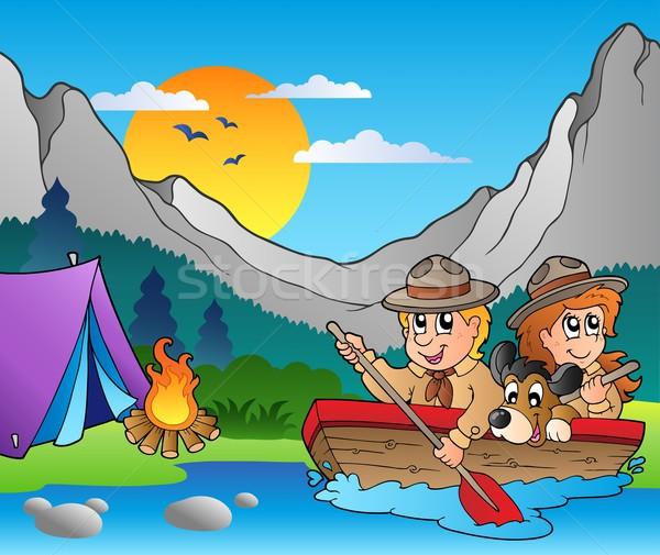 木製 ボート キャンプ 幸せ スポーツ 子 ストックフォト © clairev