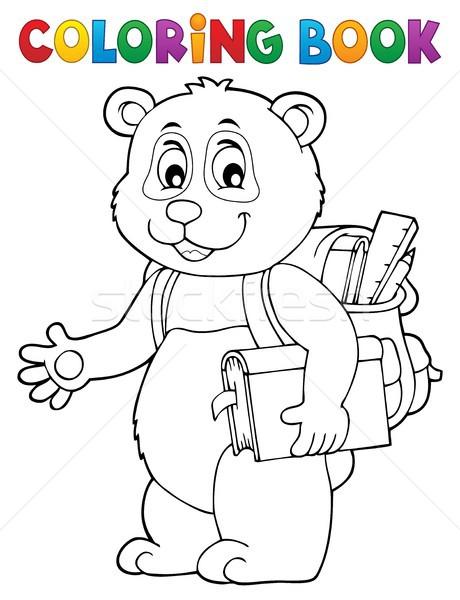 Kolorowanka szkoły panda książki sztuki rysunek Zdjęcia stock © clairev