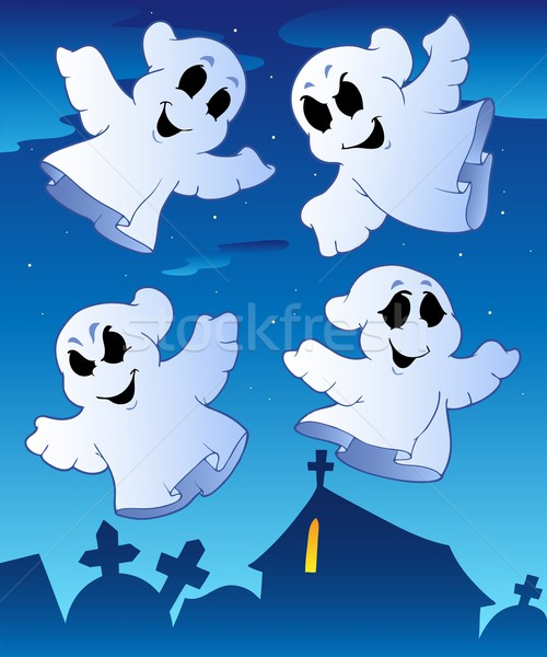 Four ghosts near cemetery Stock photo © clairev