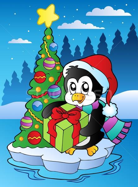 Рождества сцена пингвин дерево дизайна птица Сток-фото © clairev