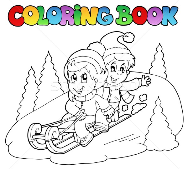 Coloring book two kids on sledge Stock photo © clairev