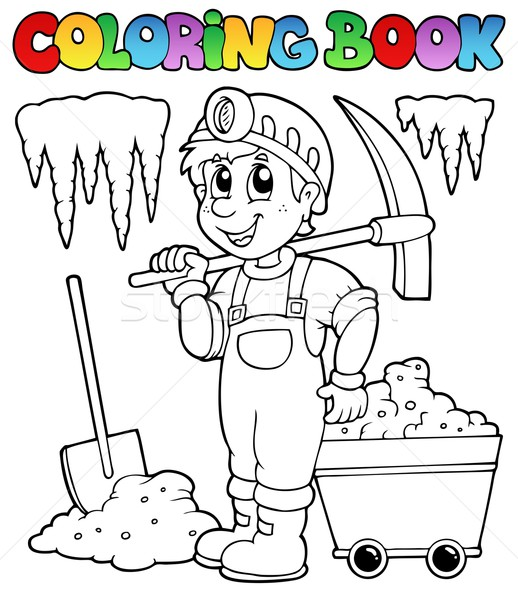 Coloring book with miner Stock photo © clairev