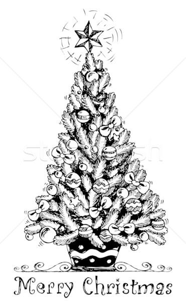 рождественская елка стилизованный рисунок дерево искусства Рождества Сток-фото © clairev